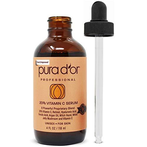 Sérum de Vitamina C anti-edad Pura D'or 20%, fuerza profesional, terapia aceite de argán orgánico, ácido hialurónico y vitamina E, 4onzas líquidas