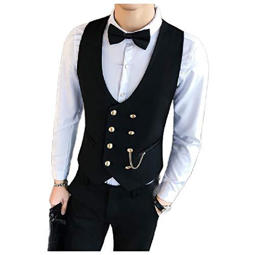 CuteRose Mens Metallic Casual Loose Premium Double-Breasted Vest Waistcoat Black L