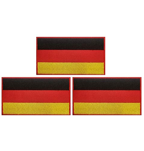 JAVD 3Pack Germany Flag Patch German Flags Patchs, Germany Tactical Flag Embroidery Patch with, for Hats, Tactical Bags, Jackets, Clothes Patch Team Military Patch