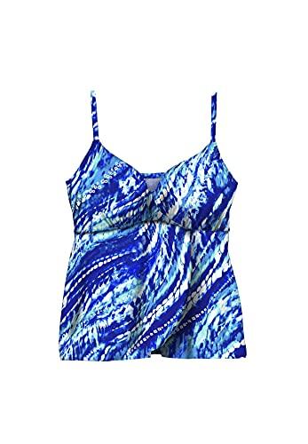 Swimsuits For All Women's Plus Size Bra-Size Wrap Tankini Top - 44 DDD, Dream Blue Tie Dye