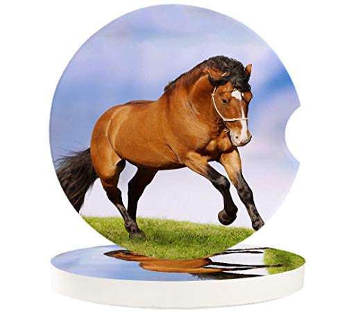 Car Cup Holder Coasters Set of 6 Equestrian Horse Runs Gallop on Flower Absorbent Ceramic Stone Drink Coaster with A Finger Notch for Easy Removal of Auto Cupholder