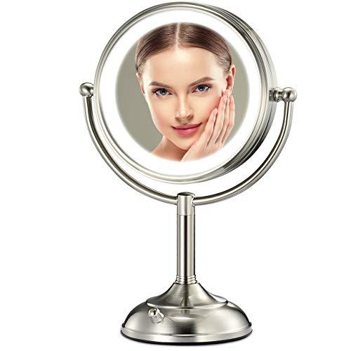 "Professional 8.5"" Lighted Makeup Mirror, 10X Magnifying Vanity Mirror with 32 LED Lights, Senior Pearl Nickel Cosmetic Mirror,Brightness Adjustable(0-1100Lux) Desk Lamp Night Light Alternative"