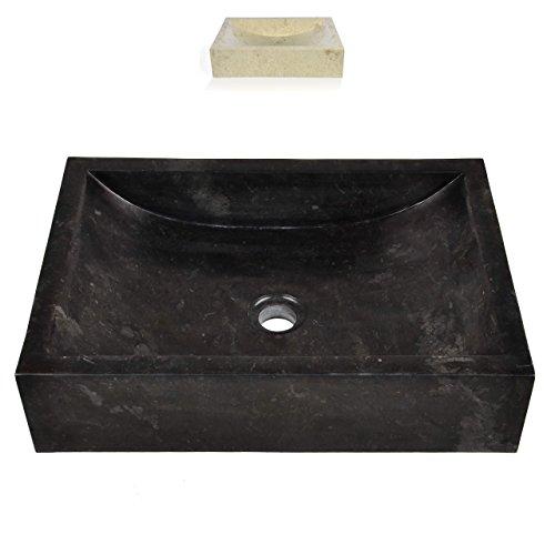 DIVERO Naturstein Aufsatzwaschbecken Handwaschbecken eckig Waschschale Handarbeit Marmor poliert schwarz