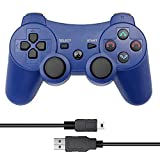 CelebFuny PS3 Controller Wireless Playstation 3 Controller Double Vibration for PS3 with Charging Cable (Blue)