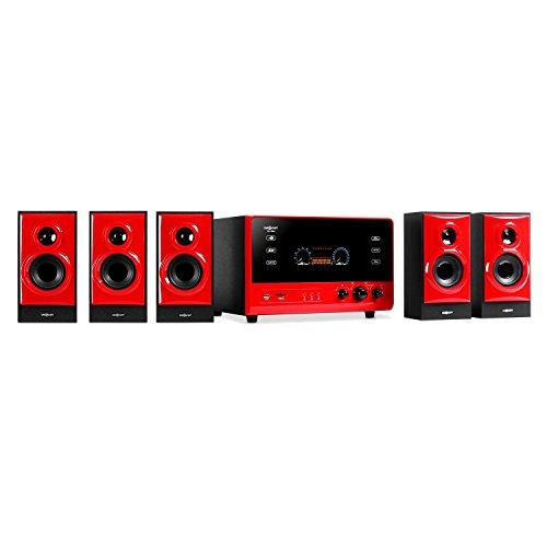 "oneConcept V51 - Sistema Sonido Envolvente 5.1, Home Cinema, Surround, 70 W RMS, Subwoofer Activo emisión Lateral 4"", Bass Reflex, 5 Altavoces satélite, AUX, USB, SD, FM, VFD, Rojo"