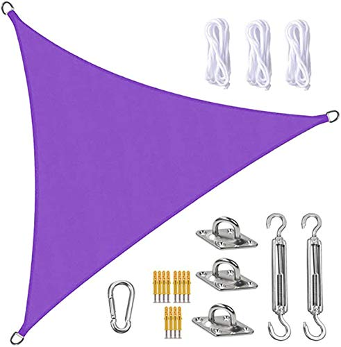 Tela Toldo Sun Shade Sail Canopy Triangle UV Block Impermeable Sun Shade Toldo con Kit De Fijación para Jardín Patio Piscina área De Barbacoa Púrpura(Size:3X4X5m/10X13X16ft)