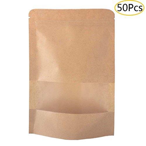 SumDirect 50 Stk 12 x 20 cm Braune Papier Beutel Mit Sichtfenster, Papietütchen Kraftpapier mit Boden für Die Verpackung von Kaffee,Tee Lebensmittel