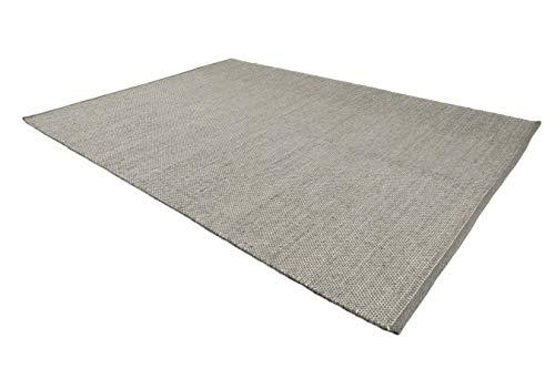 LIFA LIVING Handangefertigter Wollteppich im Vintagestil, 70% Wolle und 30% Baumwolle 140 x 200cm (Grau)