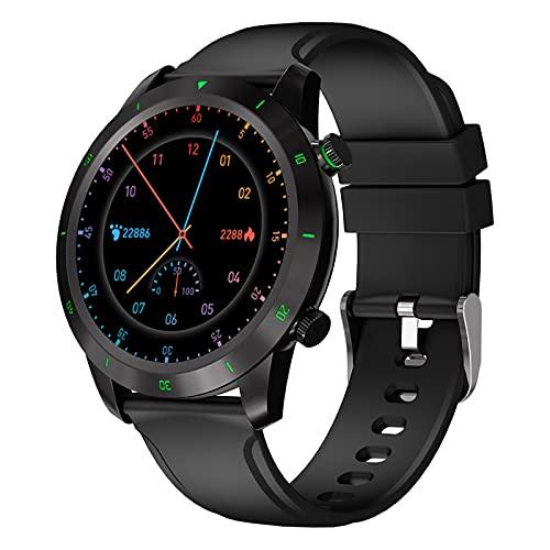 BATQER Smartwatch, Podómetro De Monitorización De Oxígeno En Sangre Y Presión Arterial De Frecuencia Cardíaca, Reloj Inteligente Bluetooth Impermeable IP68,Negro