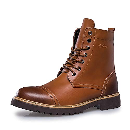 JIEIIFAFH Botas Oxford for los Hombres PU Motocicleta de Combate Retro Zapatos de tacón Alto Impermeable Top subsistencia del Invierno Caliente Fleece Forrado (Color : Light Brown, Size : 44 EU)
