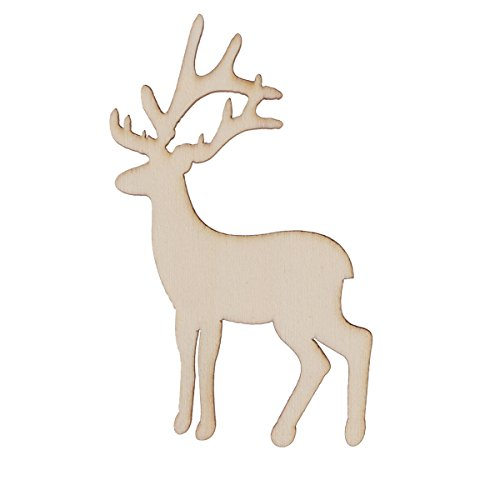 OULII 15pcs Christmas Reindeer Ornaments Blank Wooden Gift Tags Crafts Wood Slices