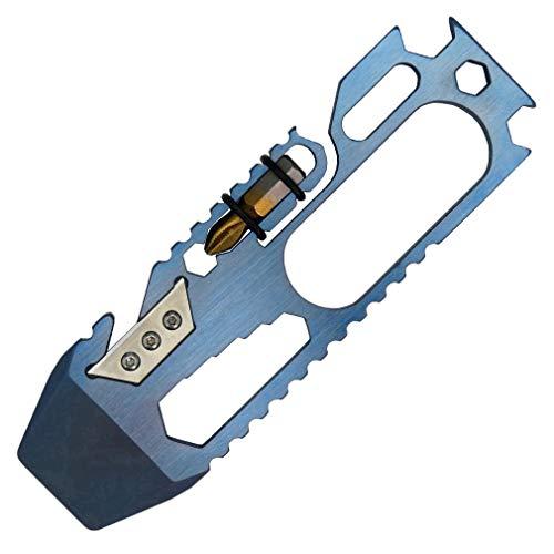 Canku C1121 EDC Titanium Multitool Pry Bar Screwdriver Wrench Tool EDC Gear Keychain Tools for Outdoors Camping Hiking Blue