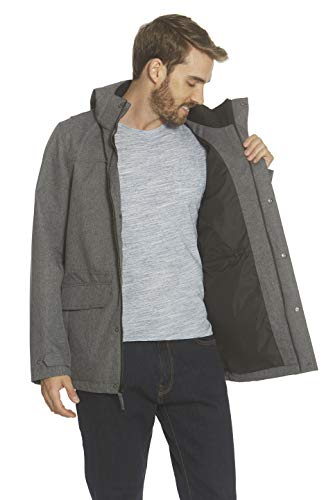 Gerry Mens Barn Jacket with Detachable Hood Water Resistant Winter Coats for Men (Charcoal/Burgandy, Large)