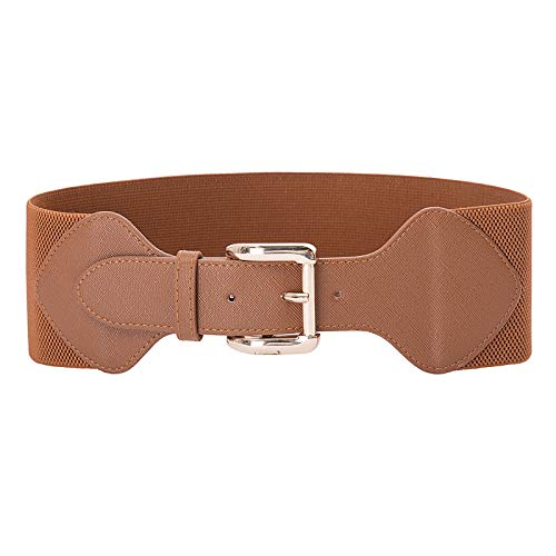 Vintage Elastic Leather Wide Cinch Belt Waistband Brown Size S CL998-5