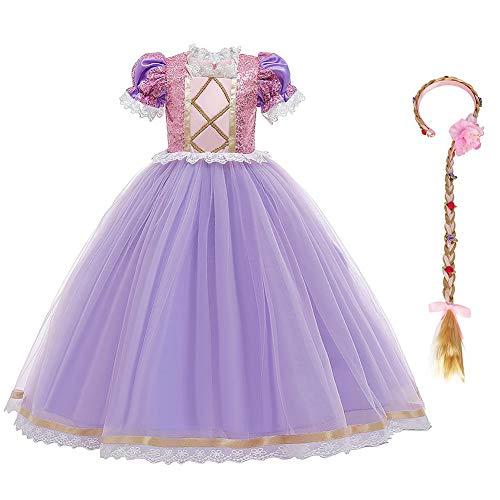 Disfraz de Princesa Rapunzel Nia Vestido Fiesta Manga Larga Carnaval Cosplay Halloween Vestirse Nios Vestido Largo Tul Venda Juego de 2 Manga Corta (con Diadema) 110