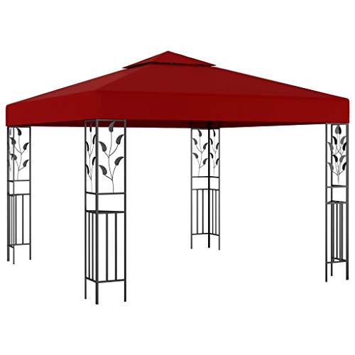 vidaXL Pavillon UV-beständig Doppeldach Gartenzelt Partyzelt Festzelt Gartenpavillon Bierzelt Garten 3x3m Weinrot Stahl Stoff mit PA-Beschichtung