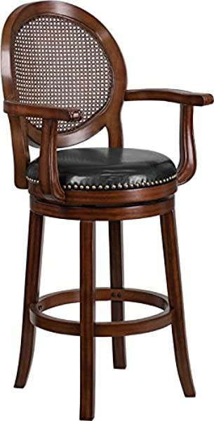 StarSun Depot 30 High Expresso Wood Barstool With Arms Woven Rattan Back And Black Leather Swivel Seat 22 75 W X 23 5 D X 48 25 H