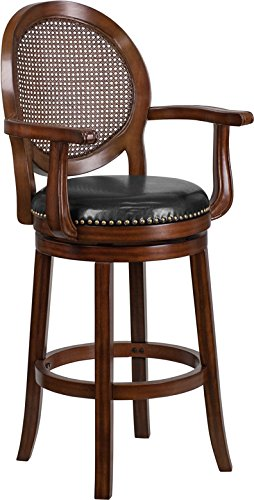 StarSun Depot 30' High Expresso Wood Barstool with Arms, Woven Rattan Back and Black Leather Swivel Seat 22.75' W x 23.5' D x 48.25' H