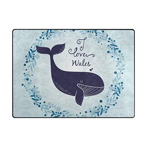 FANTAZIO Tapis de Sol pour Enfants Abstrait ondulé et Fleuri Motif Baleines, Polyester, 1, 80 x 58 inch
