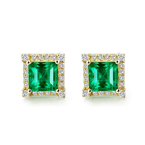 Daesar Pendientes Mujer Oro Amarillo 18K,Cuadrado Esmeralda Verde 1.6ct Diamante 0.23ct,Oro Verde