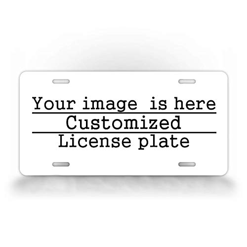 DQVWGK Personalized License Plate Cover with Your Image Add Pictures, Text, Logo - Custom License Plates Auto Car Tag - Metal for Front of Car Aluminum License Plate Covers 6' x 12' inch