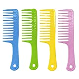 4 Pcs Wide Tooth Comb for Curly Hair,Long Hair,Wet Hair,Detangling Comb Large