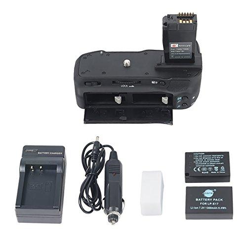 DSTE Multi-Poder Vertical Batería Apretón Titular Compatible con Canon EOS 760D 750D IX8 T6S T61 DSLR Cámara Fotográfica como BG-E18 con 2-Pack LP-E17 Batería Cargador