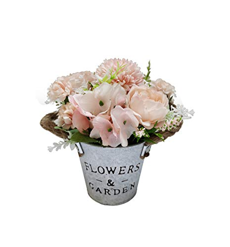 Charmly Artificial Flowers Potted European Style Design Silk Peony Arrangements Bonsai House Office Restaurant Table Centerpieces Windowsill Decor Peony-Pink