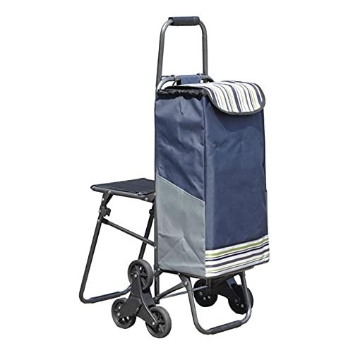 Carro de compras portátil Carro de la compra Carro con taburete Trolley Trolley Tarjetas de comestibles Servicio pesado en ruedas Carretillas plegables Carros para lavandería Carrito de compras plegab