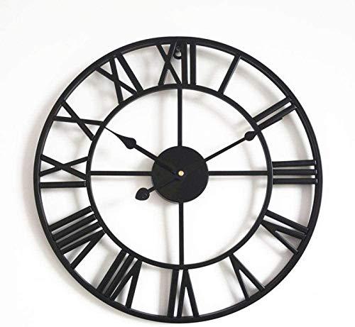 JJDSN Impresionante Esqueleto silencioso Interior - Reloj de Pared de Sala de Estar de Hierro Forjado Retro Decoración Reloj Redondo Reloj silencioso Romano-Negro_60cm