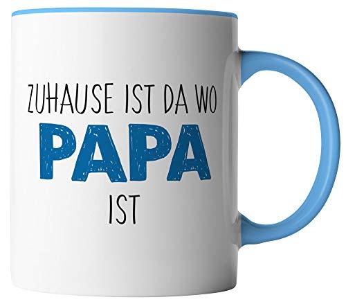 vanVerden Tasse -Zuhause ist da wo Papa ist - Tassen für Vatertag Spruch Vater - beidseitig Bedruckt - Geschenk Idee Kaffeetassen, Tassenfarbe:Weiß/Blau