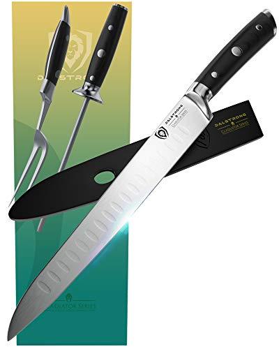 Set de couteau de cuisine & fourchette de DALSTRONG — Série Gladiator — Acier allemand HC —4 pièces évidées — Tige d'affûtage —9 pouces