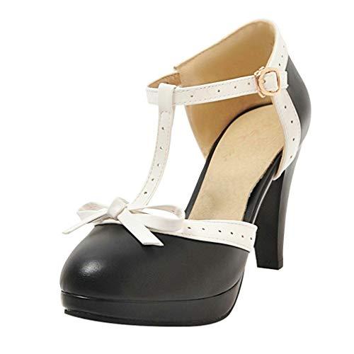 LOVOUO Femme Chaussure Mary Jane Escarpin Rockabilly Vintage Rétro Talon Bloc Lanière Carré Haut Plateforme Chunky avec Noeud Boucle Lolita 9CM(Noir,37)
