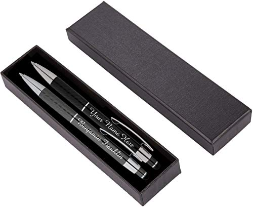 Personalized Pens Gift Set - 2 Pack of Metal Pens w/gift box - Luxury Ballpoint Pen Custom Engraved with Name, Logo or Message for Executive, Business or Personal use (Black-Gray)