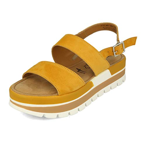Tamaris 1-28008-24 Damen Sandalen Slingback Plateau Keilabsatz, Größe:42 EU, Farbe:Gelb