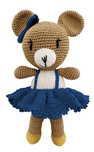 LOOP BABY gehäkelter Teddy-Bär Bettina in blau - gehäkeltes Kuscheltier Baby/Mädchen/Junge aus Baumwolle