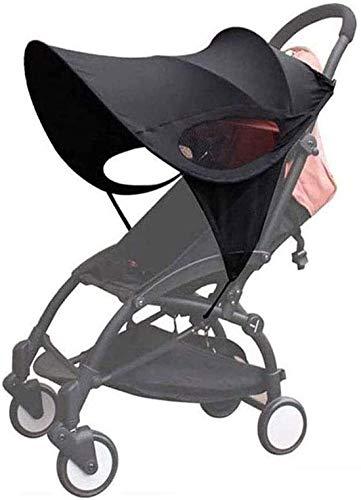 LXLUOO Parasol para cochecito de bebé, parasol para cochecito de bebé, protección contra rayos UV, ajuste universal para cochecito, color negro