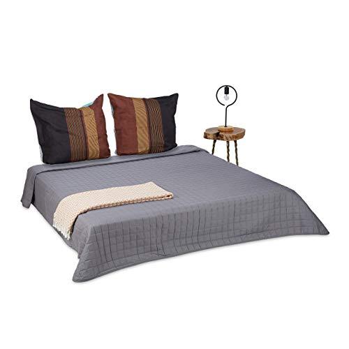 Relaxdays Tagesdecke grau, gesteppter Überwurf und weiche Kuscheldecke, waschbarer Bettüberwurf 240 x 260 cm groß, grey