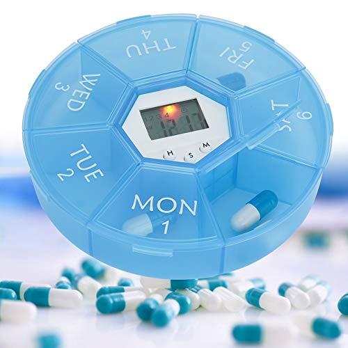 Medische herinnering – 7 vakjes draagbare pillendoos elektronische digitale programmeerdoos mini geneeskunde tablet karamel opbergdoos voor organizer met herinnering (Azu)