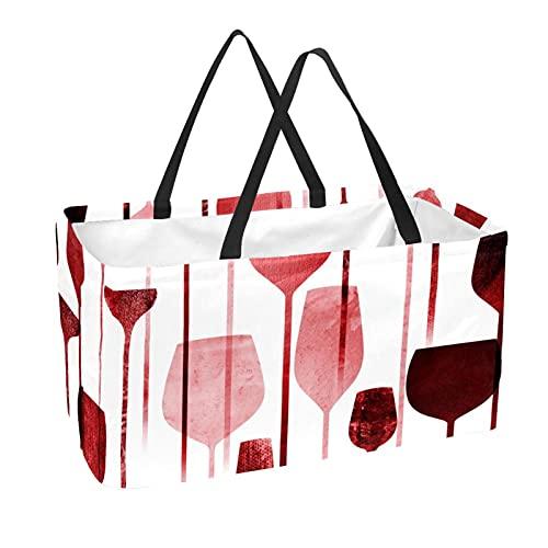 Bolsa de supermercado reutilizable Contenedores de almacenamiento grandes de 50L Cesta de compras Bolsas de asas Copa de vino tinto