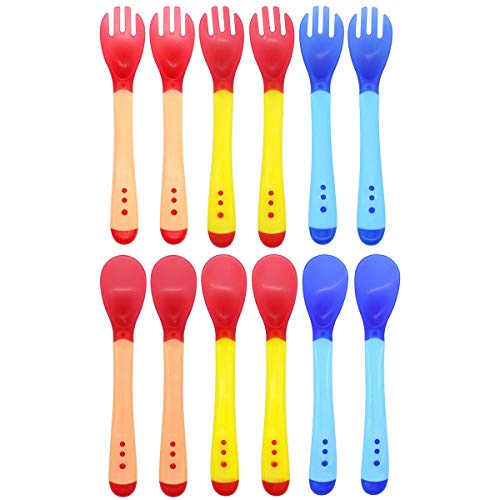 Set de 6 Tenedores y 6 Cucharas Siliconas Bebé, surtido de colores