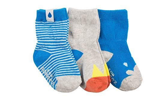 Robeez Baby Boys 3-Pack Socks, Rain Orange Shine Turquoise/Grey, 6-12 months