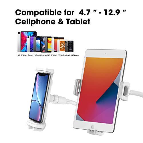 Smatree Schwanenhals Tablette und Handy Ständer, Flexibel Tablette Halter, Kompatibel für 4.7-12.9 Zoll iPhone, iPad Mini, iPad Air, iPad Pro, Nintendo Switch, Action Kamera, Weiß