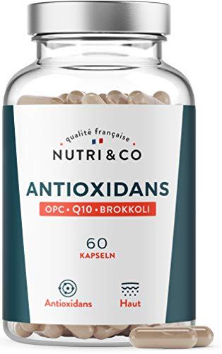 Coenzym Q10 + OPC Traubenkernextrakt + Brokkoli hochdosiert | CoQ10 Patent hoch bioverfügbar | Vit C Vorläufer Kollagen I Antioxidantien Komplex Anti-Aging | 60 Kapseln Vegan | Laborgeprüft |Nutri&Co