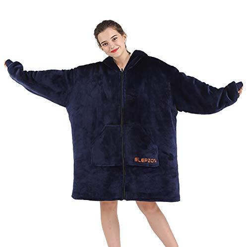 SLEPZON Blanket Hoodie   Oversized Wearable Blanket - Deep Pockets, Comfy Sleeves, Front Zipper - Deluxe Fleece Sweatshirt Blanket - Navy
