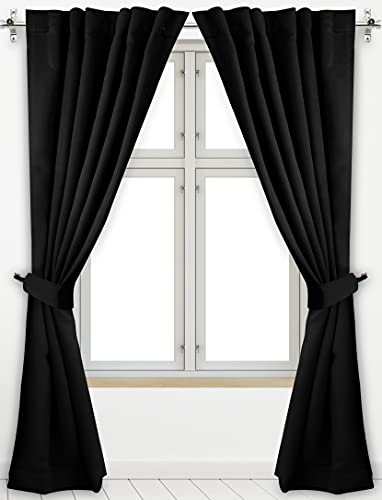 Utopia Bedding 2 Panels Rod Pocket Blackout Curtains with 2 Tie Backs W52 x L84 Inches, Thermal Insulated Window Draperies - 7 Back Loops per Panel, Black