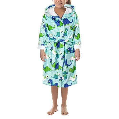 Albornoz infantil de franela, pijama, chaqueta, chicos y chicas, estampado de dibujos animados verde S