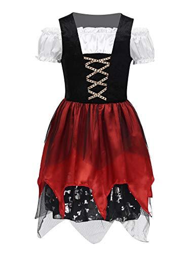 CHICTRY Piraten-kostüm Kinder Mädchen Schädel Seeräuber Kleid Faschingskostüm Trachtenkleid Dirndl Kleid Halloween Cosplay Outfits Gr. 98-140 Schwarz & Rot 128-140