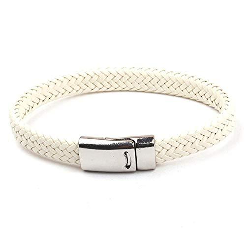 ASIG geweven leren armband mannen zilveren bedeltje jongen sieraden