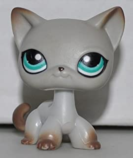 Shorthair Cat #391 (Grey, Blue Eyes, Brown Accents) Littlest Pet Shop (Retired) Collector Toy - LPS Collectible Replacement Single Figure - Loose (OOP Out of Package & Print)
